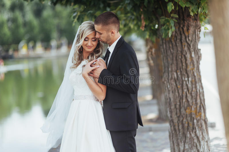 Happy young couple poses for photographers on her happiest day. royalty free stock photography