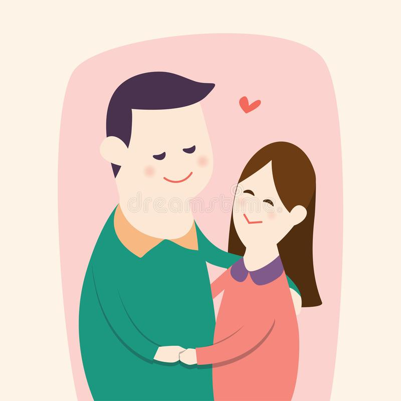 Happy young couple`s hugging and dancing together with smilling face, vector cartoon illustration royalty free illustration