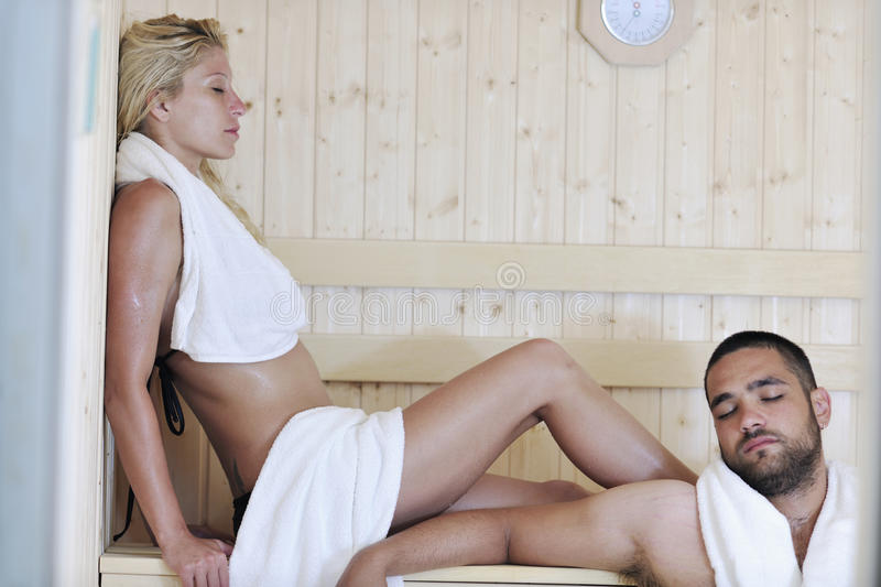 Download Happy Young Couple In Sauna Stock Photo - Image: 15661936