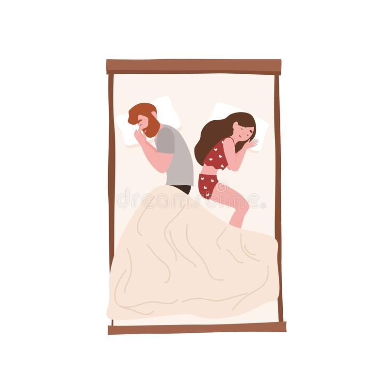Happy young couple sleeping back to back at night. Romantic partners lying on bed. Cute girl and boy napping, slumbering royalty free illustration