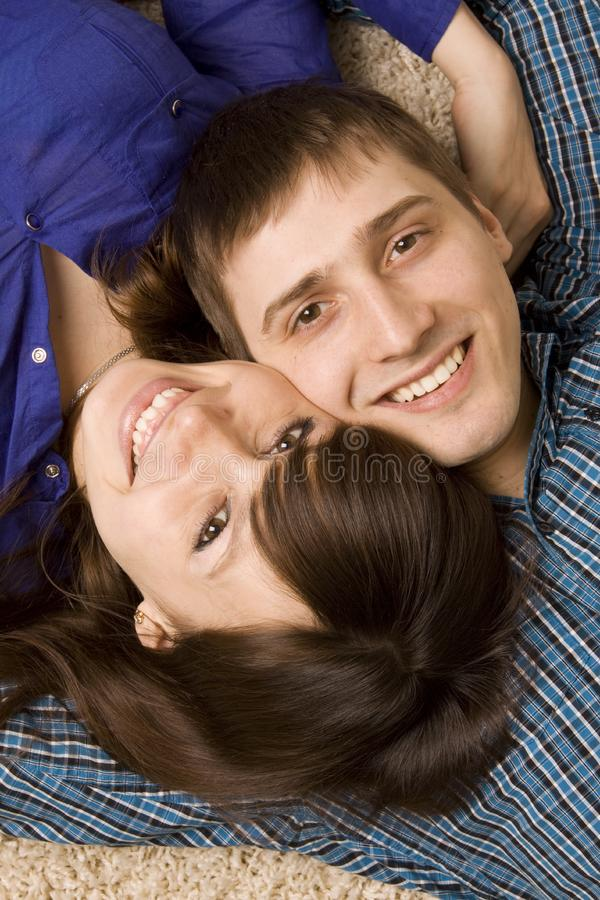Happy young couple smiling royalty free stock images