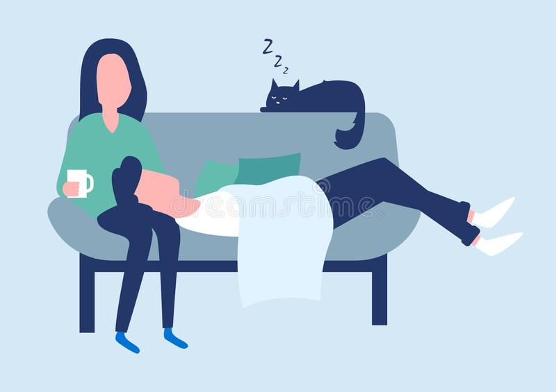 Happy young couple spend time together on the sofa. royalty free illustration