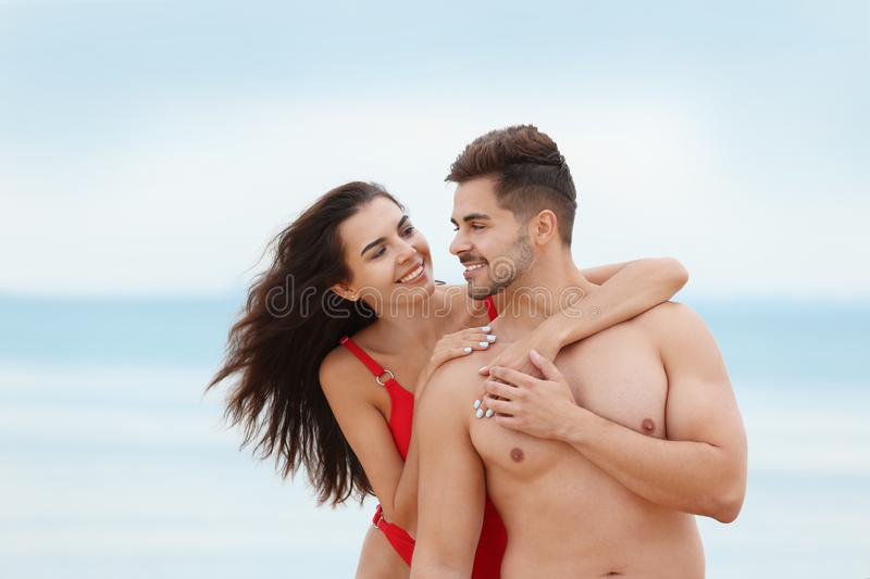 Happy young couple spending time together royalty free stock photo