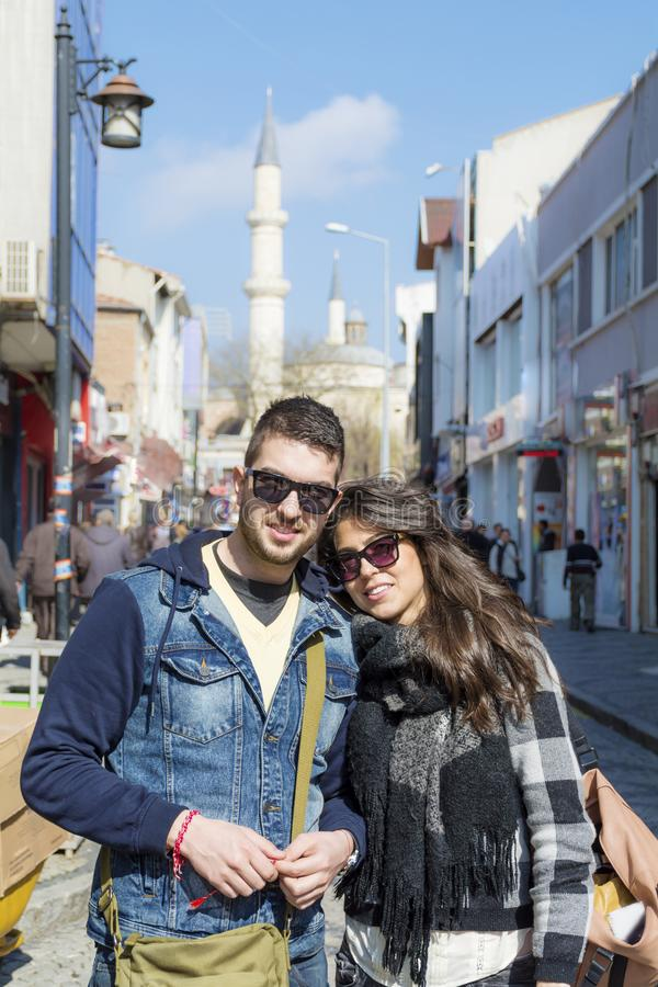 Happy Young Couple Traveling in Turkey stock image