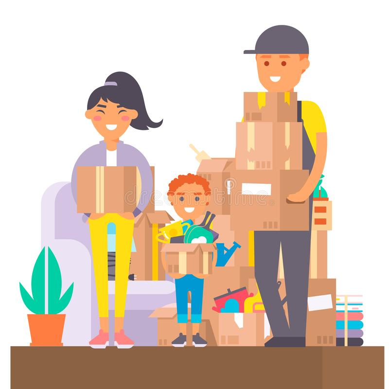 Happy young couple vector flat people moving in new house movement apartment together. Happy young couple moving service. Woman carrying boxes together with stock illustration