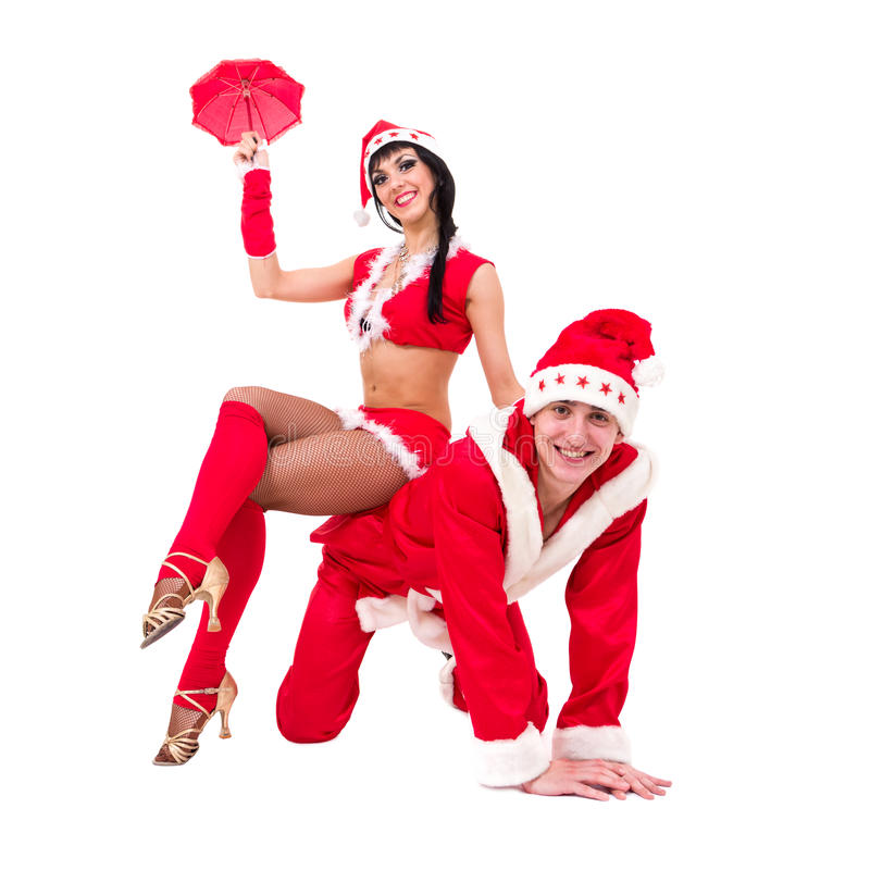 Download Happy Young Couple Wearing Santa Claus Clothes Royalty Free Stock Photos - Image: 27601828