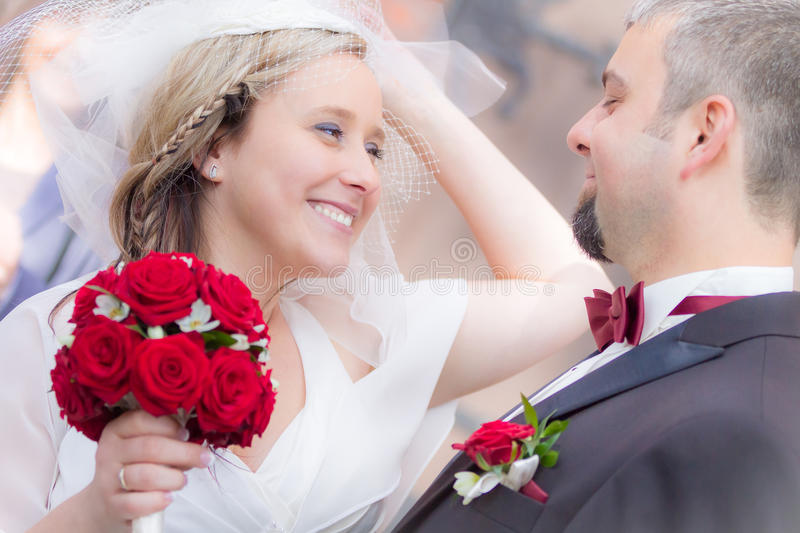 Happy young couple after the wedding ceremony stock photo