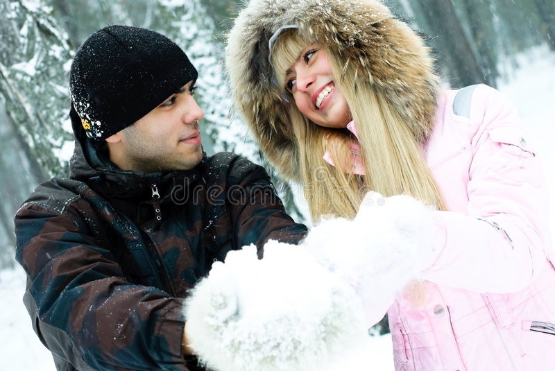 Download Happy Young Couple In Winter Park Stock Image - Image of laugh, caucasian: 8098033