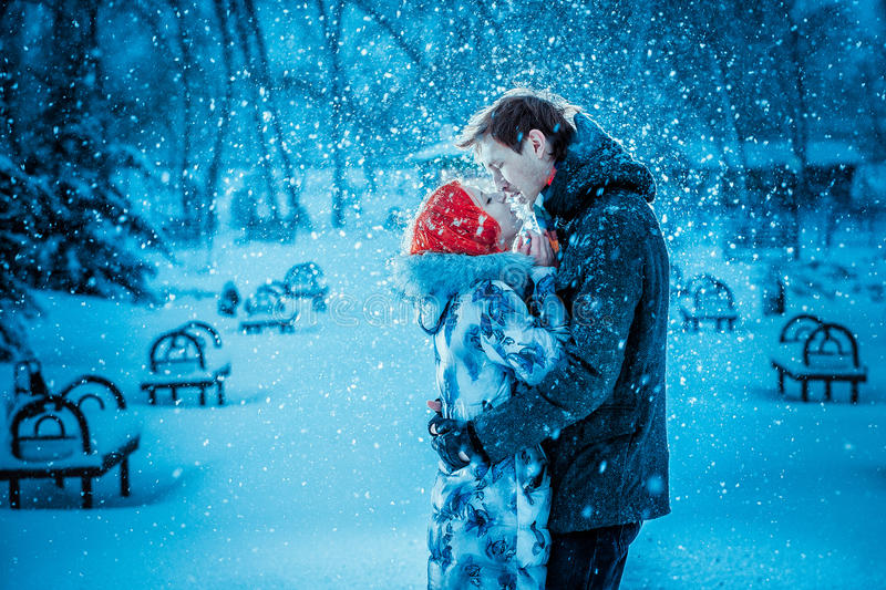 Happy Young Couple in Winter Park stock images