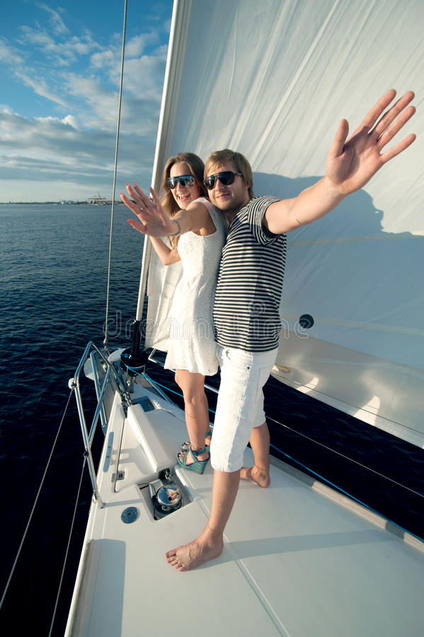 Download Happy Young Couple On A Yacht Stock Photo - Image: 34300836