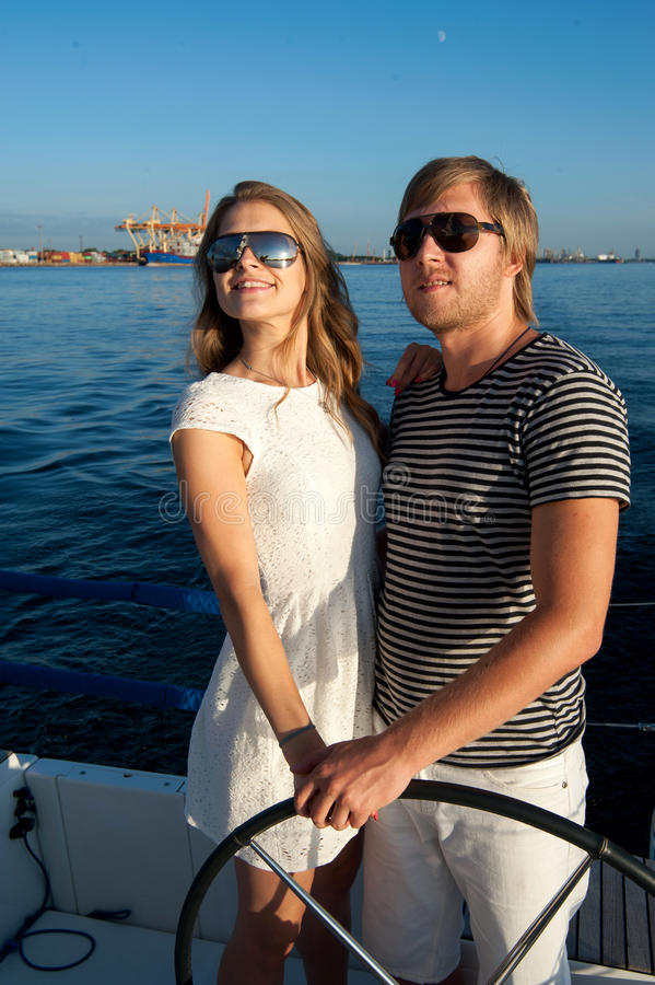 Download Happy Young Couple On A Yacht Stock Photo - Image: 34300928