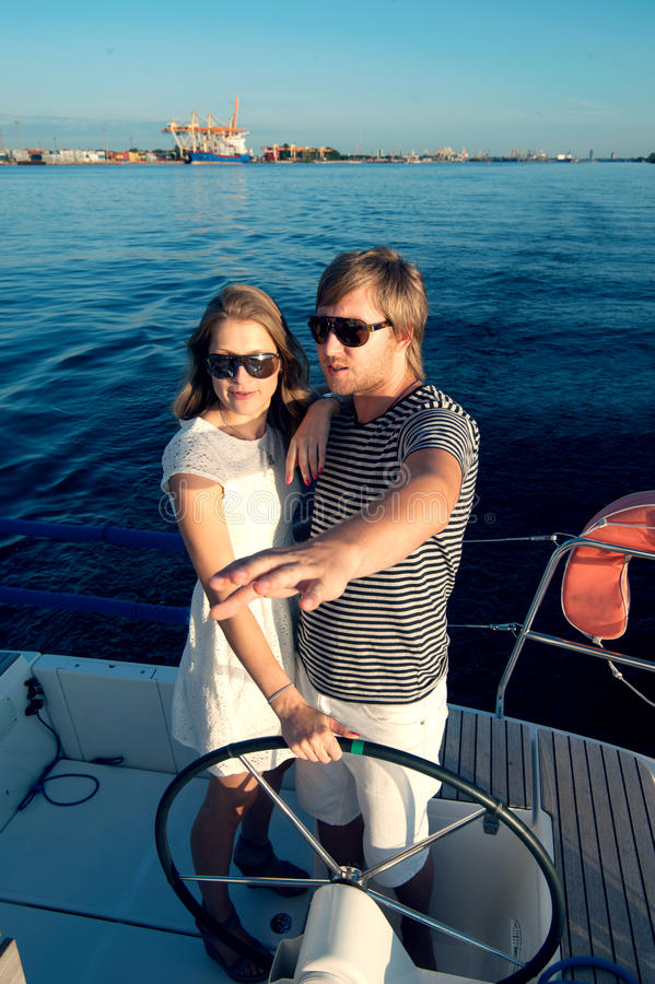 Download Happy Young Couple On A Yacht Stock Image - Image: 34300941
