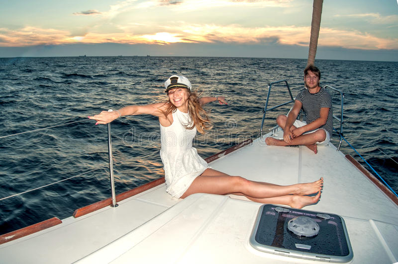 Download Happy Young Couple On A Yacht Stock Photo - Image of holidays, ship: 34301204