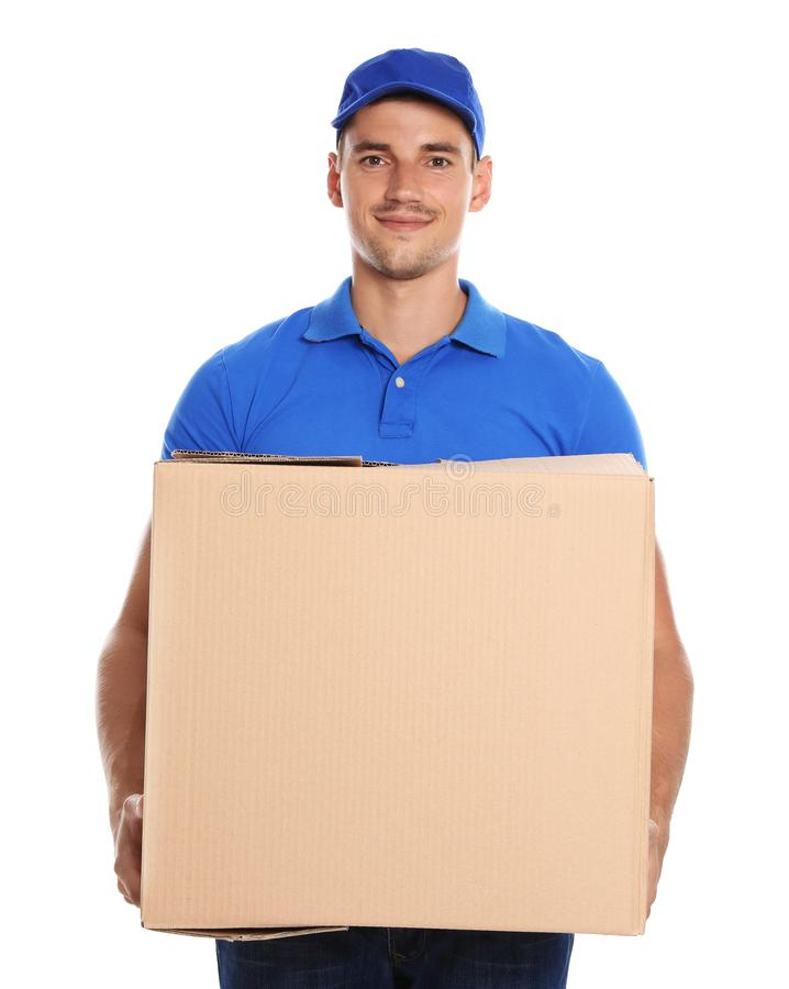 Happy young courier with  box on white background royalty free stock photo