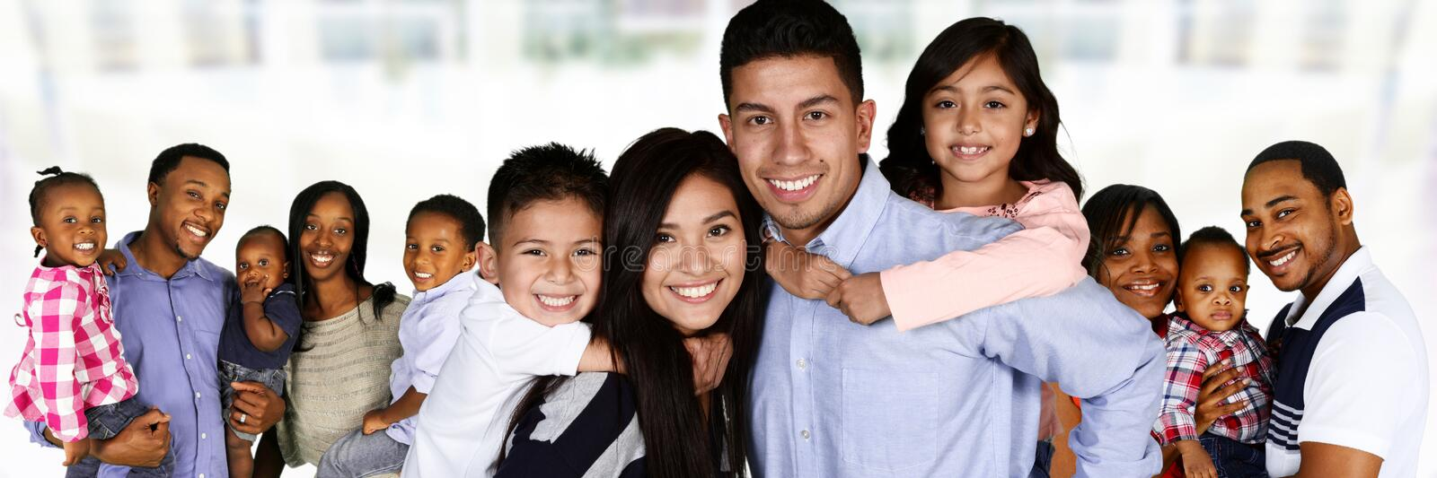 Happy Young Families. Together in a group stock image