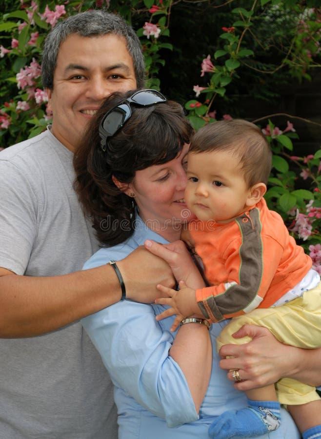 Ecstatically Happy Multiracial Family stock image