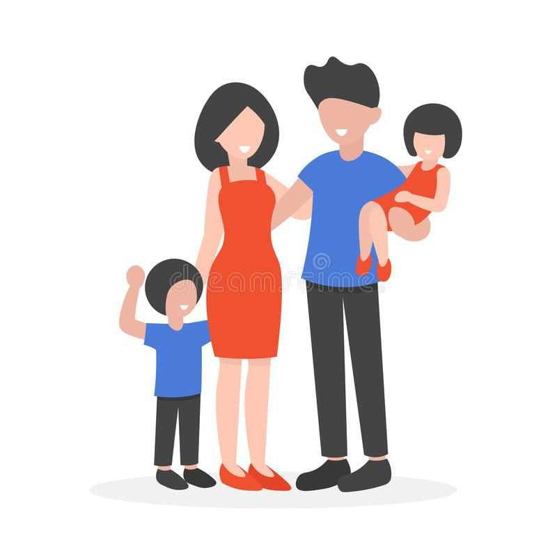 Happy young family characters isolated. Happy young family portrait standing. Flat vector illustration isolated on white background royalty free illustration