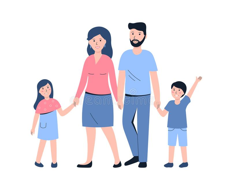 Flat Cartoon Family Outline Character Isolated Stock Vector Illustration Of Group Children 158893983