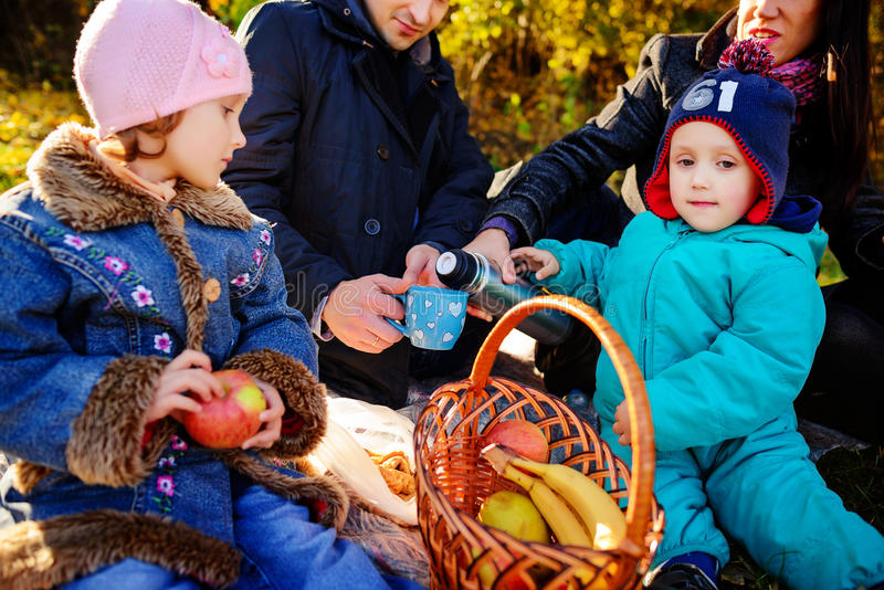Happy young family of four having picnic at meadow at summer day stock photos