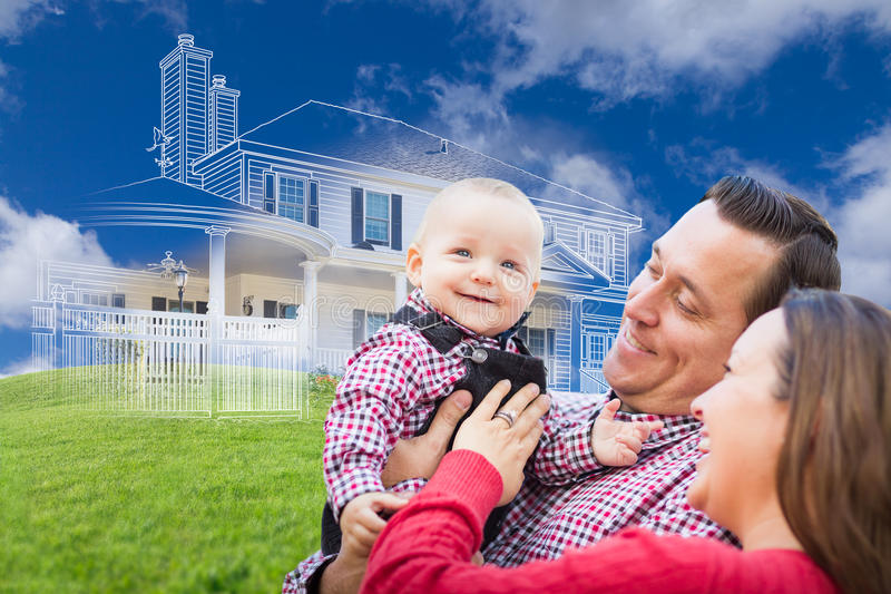 Happy Young Family with Ghosted House Drawing Behind. Happy Young Family with Ghosted House Drawing, Partial Photo and Rolling Green Hills Behind royalty free stock image