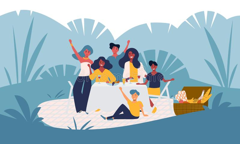 Happy young family has fun on a picnic in the park, garden party outside, backyard celebration. Smiling people group. With children. Summer nature outdoor royalty free illustration