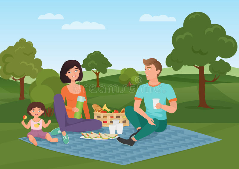 Happy young family with kid on a picnic. Dad, mom and daughter are resting in nature. Vector cartoon illustration. Happy young family with kid on a picnic. Dad stock illustration
