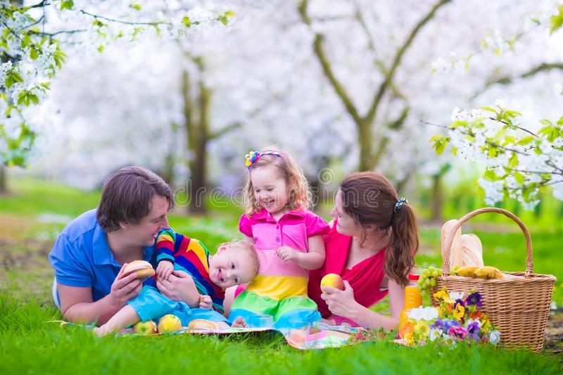 Happy young family with kids having picnic outdoors stock image