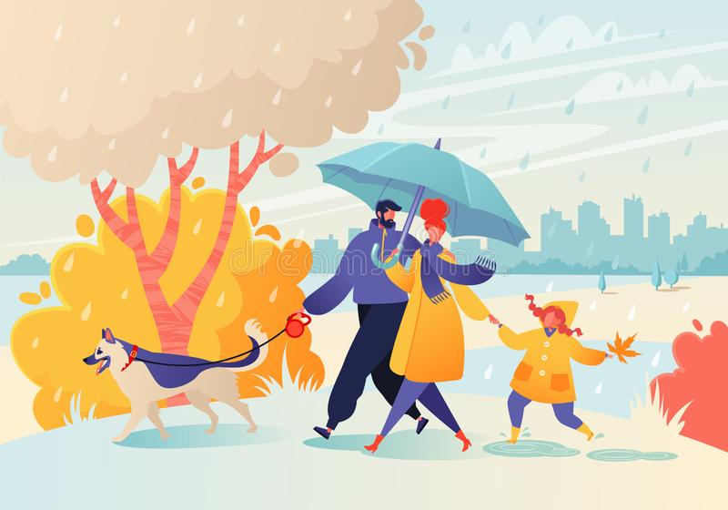 Happy young family spend joyful time together. Parent character walk in rainy weather in autumn park. Father leads a dog on a leash, mom holds hand of a stock illustration