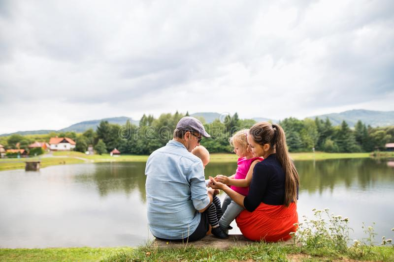 Happy family in nature in summer. stock photography