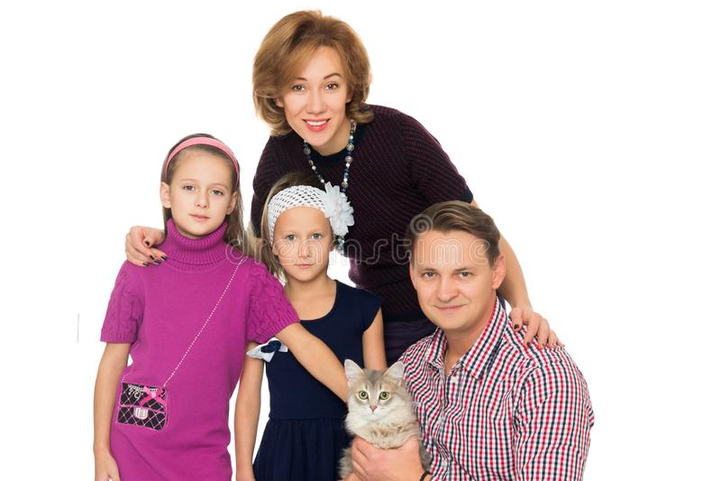 Happy family with cat. Isolated on white background royalty free stock photos