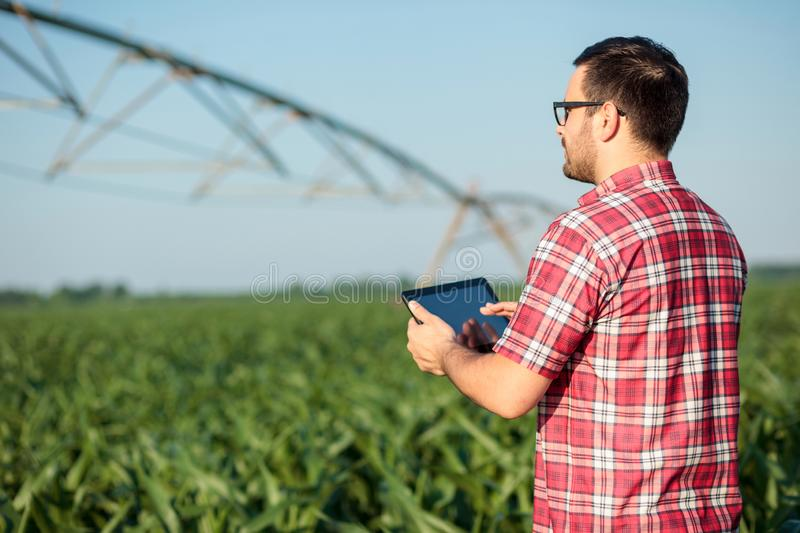 Happy young farmer or agronomist controlling large irrigation system with a tablet. Happy young farmer or agronomist in red checkered shirt controlling large stock image