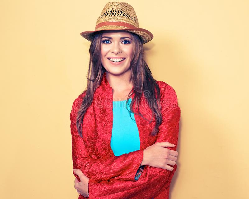 Happy young female model. smiling woman fashion style portrait. Blue dres. red cape stock photos