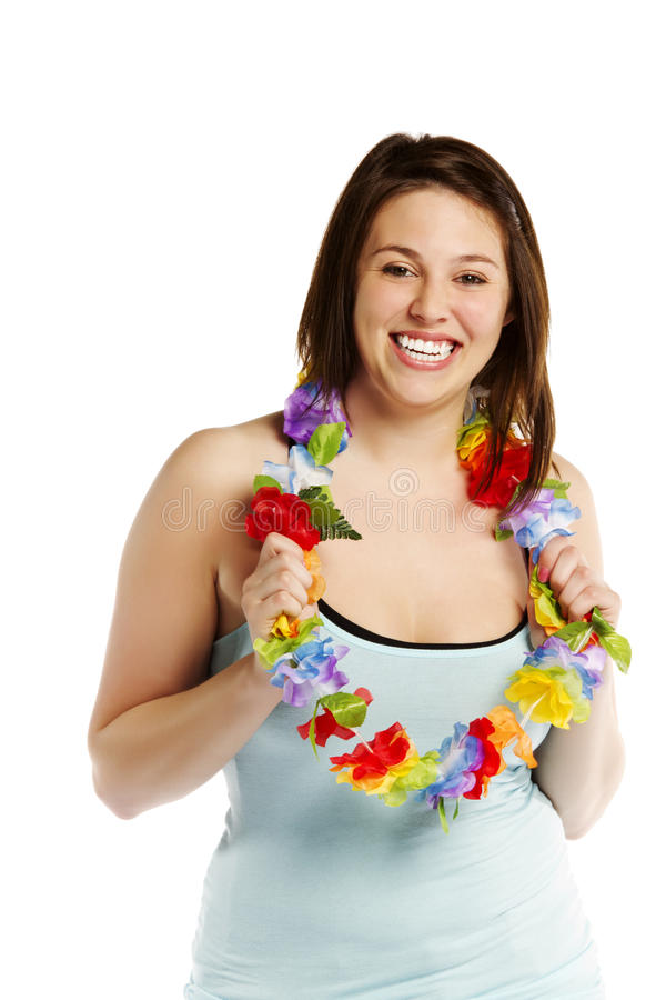 Happy young female over wearing garland