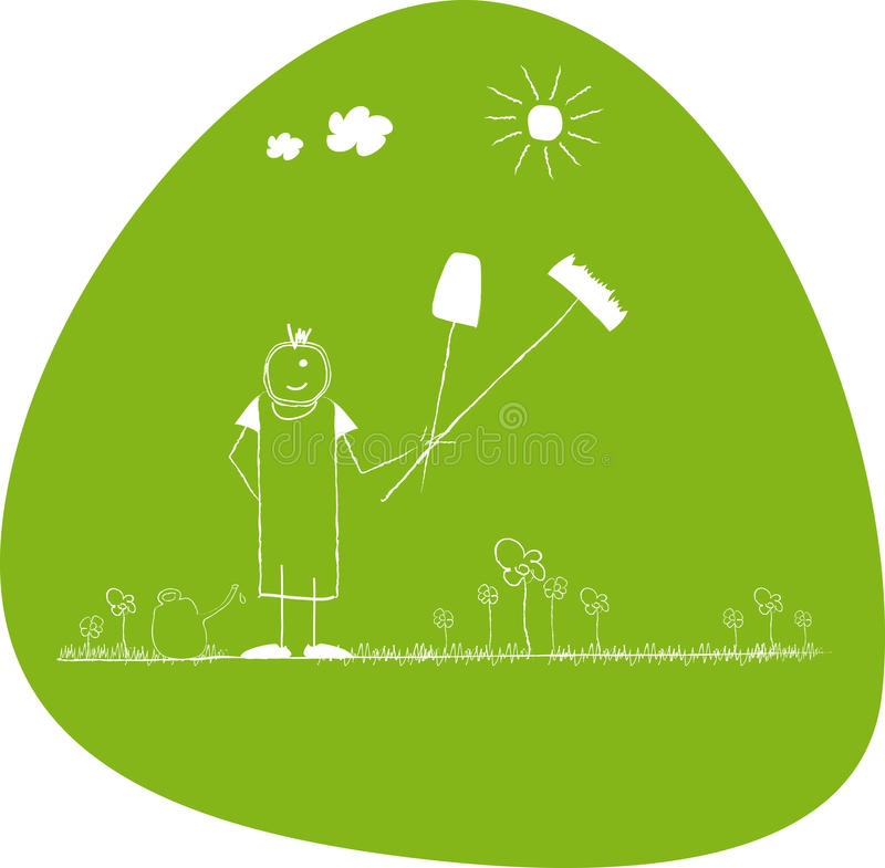 Happy Young gardener in garden. With flowers and sun royalty free illustration