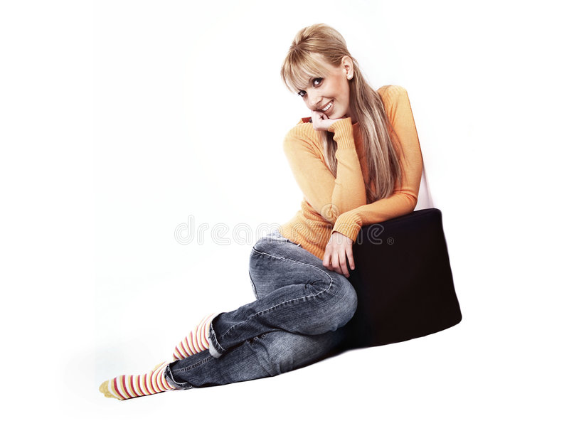 Happy young girl stock photography