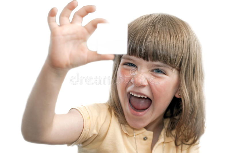 Download Happy young girl with card stock photo. Image of expressive - 13300118