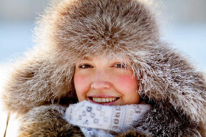 Download Happy Young Girl In A Fur Hat Stock Photo - Image of skin, portrait: 28297854