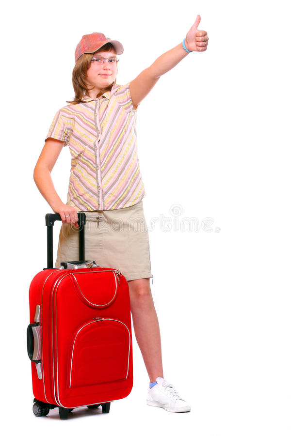Happy young girl going on vacation royalty free stock photos