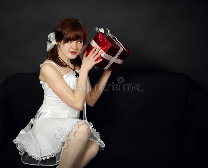 Download Happy Young Girl Has Received A Gift Stock Photo - Image: 17243256