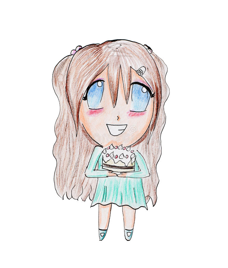 Download Happy Young Girl Holding Birthday Cake Stock Illustration