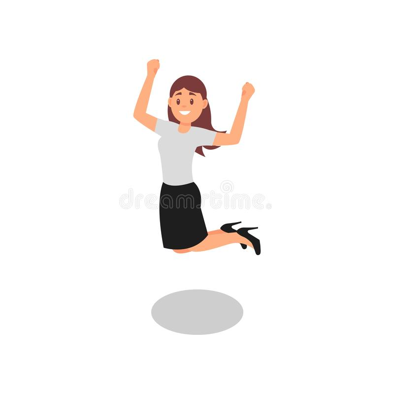 Happy young girl jumping with clenching fists. Successful office worker. Woman in formal outfit. Flat vector. Happy young girl jumping with clenching fists vector illustration