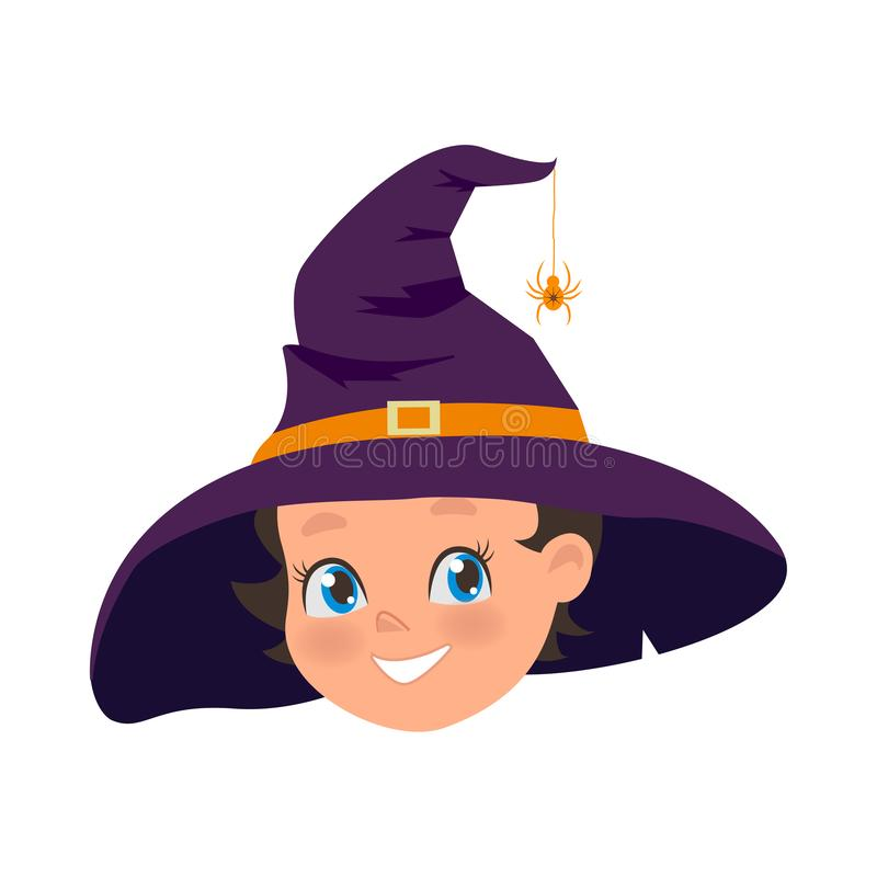Happy Young girl in old hat and spider on hat. Halloween holiday costume of little witch. Portrait of smiling female stock illustration