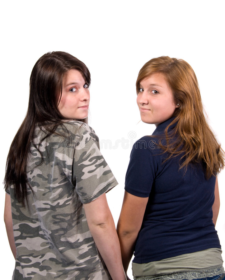Happy young girlfriends royalty free stock photography