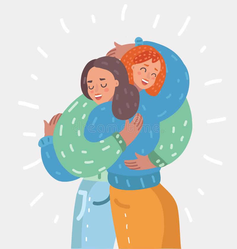 Happy young girls hug each other. Woman friendship stock illustration