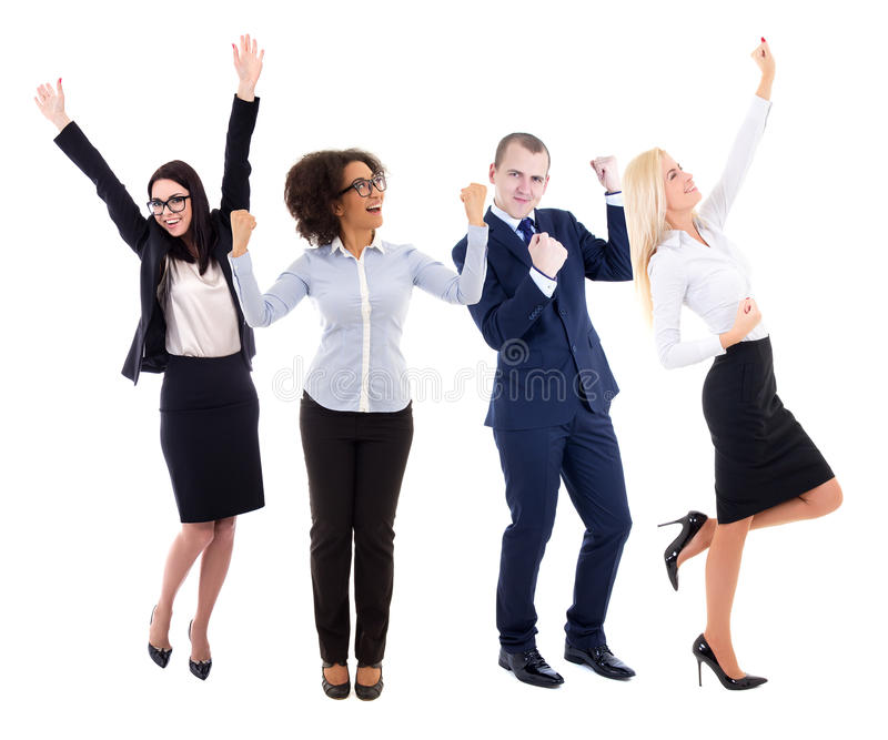 happy young group of business people celebrating something isolated on white stock images