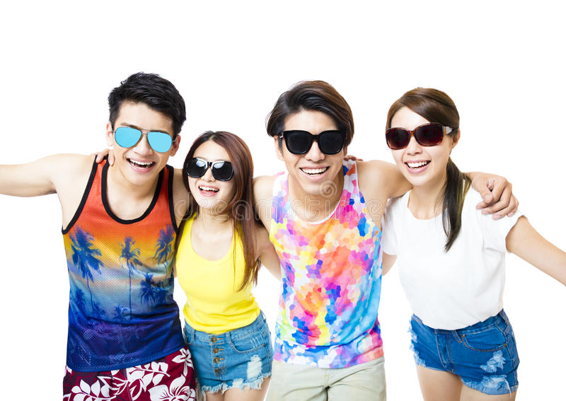 Happy young group enjoy summer vacation stock photography