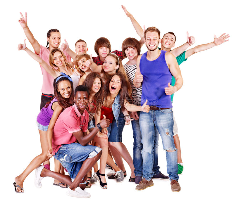 Happy young group people. stock image