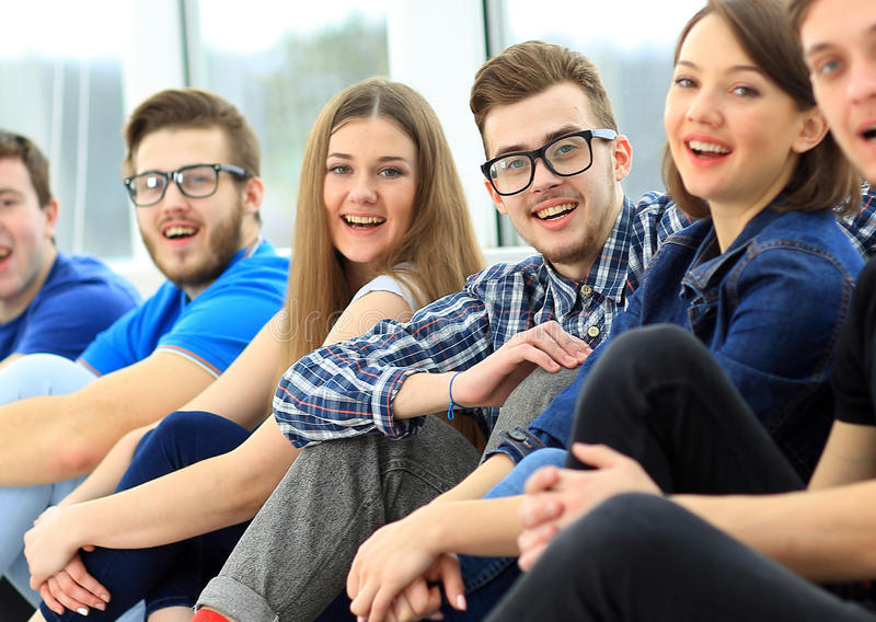 Happy young group of people stock image