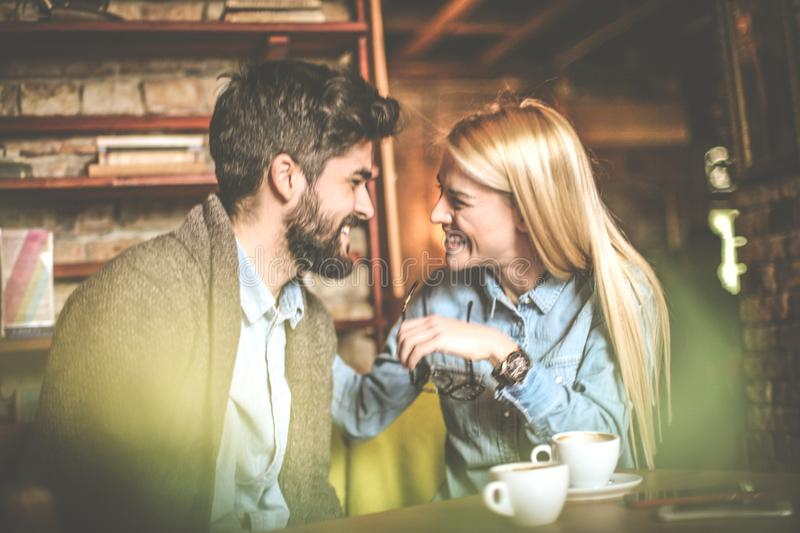 Enjoying together. Couple at cafe. stock image