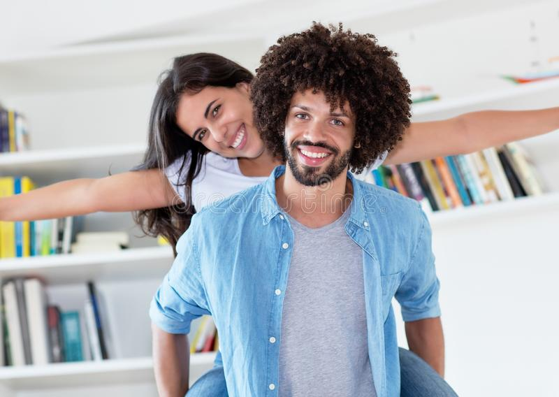 Happy young hipster love couple at new flat stock photos